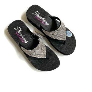 Sketchers Yoga Foam Vinyasa rhinestone flip flops